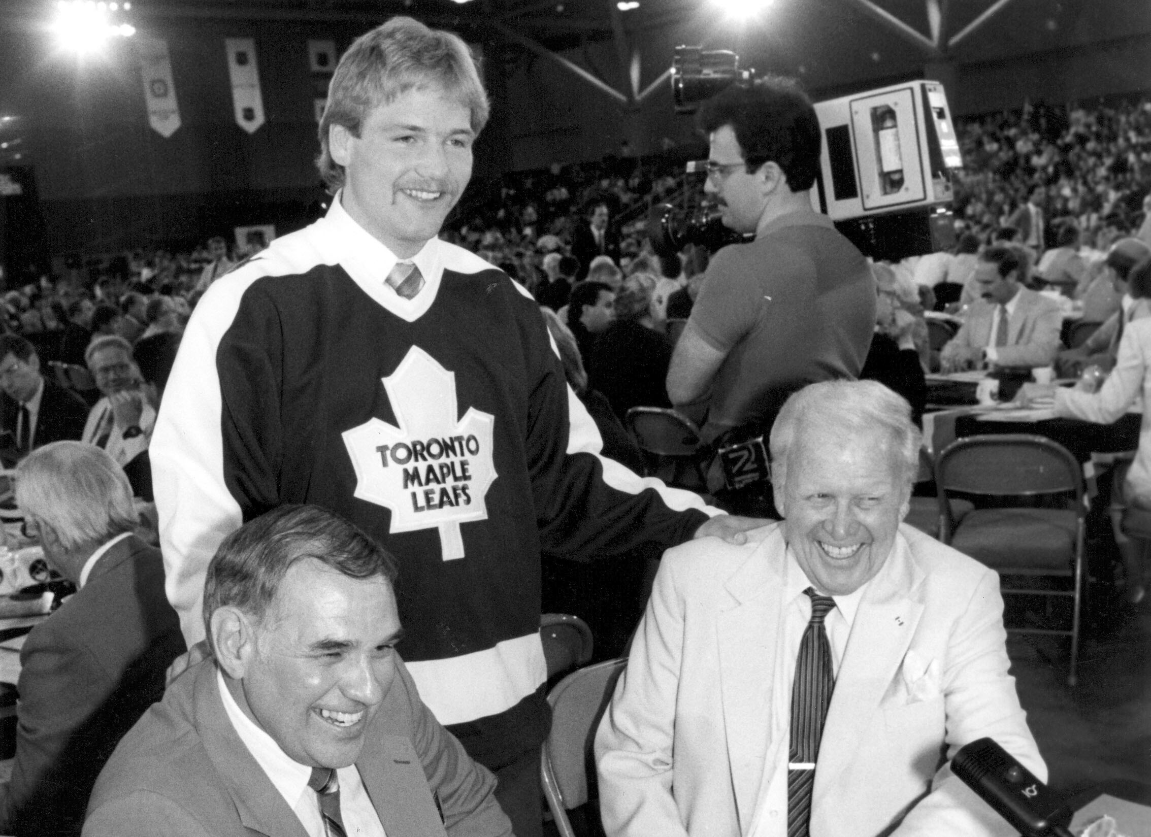 Wendel Clark, Don Meehan, and Joey Kocur on draft day.